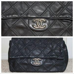 Chanel Single Flap Black Leather Stitch Multi Way
